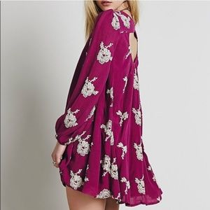 Free People Emma Floral Embroidered Cut-Out Dress